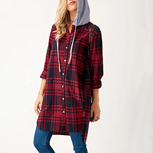 Donna T-shirt - Camicetta - Camicia - feiXIANG Moda Donne Le signore Top Manica lunga cappuccio Casuale Plaid Reticolo Camicia Camicetta - plaid , quotidiano Rosso