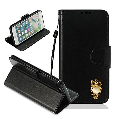 iPhone 8 Plus Hülle,Nnopbeclik iPhone 7 Plus Hülle Kleiner 3D Eule Premium Tasche Cover Flip Case Schutzhülle Lederhülle Skin Ständer Schale Handytasche Bumper Magnetverschluss Klappbar Ledertasche für Apple iPhone 7 Plus/iPhone 8 Plus 5.5 Zoll