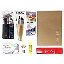 Artway - Kit de artes plásticas con 10 artículos imprescindibles - Estuche, lápices, pinceles, pasteles y mucho más - Ideal para la ESO