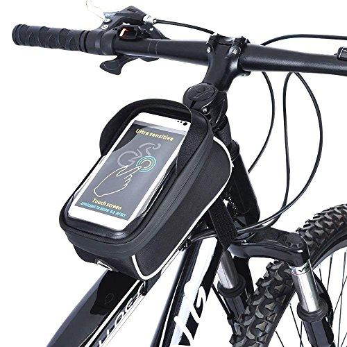 UPGOO Rahmentaschen,Fahrradtasche Fahrrad Rahmentaschen Wasserdicht Oberrohrtasche Fahrrad Handy-Tasche klaren PVC-Schirm Sensitive Touch-Screen (Tasche Bank)