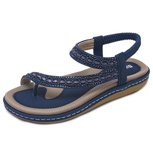 CARETOO Damen Sommer Sandalen Bohemian Strass Flach Sandaletten Sommer Strand Schuhe