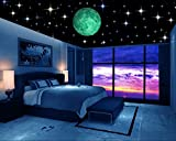 #1: DreamKraft Glow in the Dark Galaxy of Stars with Moon Radium Night Glow wall stickers Perfect For Kids Bedding Room or Birthday Toys Gift ,Beautiful Wall Decals ,Bright and Realistic (230 Star and Big Size Moon)