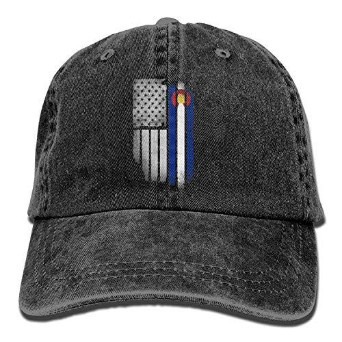Kotdeqay Unisex Adult USA Colorado State Flag Washed Denim Retro Cowboy Style Baseball Cap Sun Hat 31864