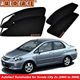 #6: Autofact Magnetic Window Sunshades/Curtains for Honda City Zx (2004 to 2008) [Set of 4pc - Front 2pc With Zipper ; Rear 2pc Without Zipper] (Black)