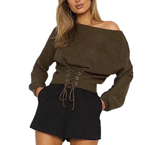 Bekleidung Loveso Sweater Herbst Kleidung Damen Mode Verstellbare Taille Lange Ärmel Casual Pullover Acrylfasern Freie Größe Sweatshirt Top Bluse (4 Farben zu wählen) (Free size, Green)