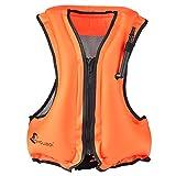 Inflatable Snorkeling Vest Zip Front Adult Canvas Life Jacket Snorkeling Jacket (Orange)
