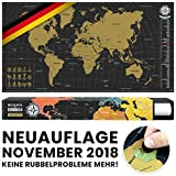 #benehacks -NEUAUFLAGE November 2018- Weltkarte zum Rubbeln in DEUTSCH - Rubbelweltkarte - Landkarte zum Freirubbeln (Farbe Gold/Schwarz 84 x 44 cm, inkl. Geschenkverpackung)
