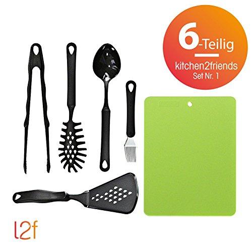 kitchen2friends Juego Nº 1(6piezas) | compuesto de sartenes de espátula, pinzas de cocina, pasta de cuchara, pincel de silicona, sossen de paleta y cortar de sobremesa