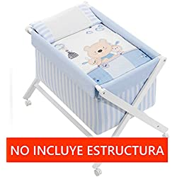 Vestidura Minicuna Tijeras mibebestore Blanco/Azul Osito (No Incluye Estructura)