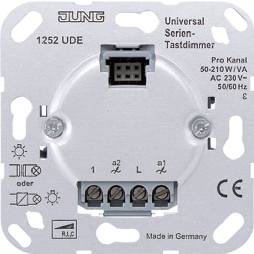 Jung 1252UDE Universal Serien-Tastdimmer, Metallisch