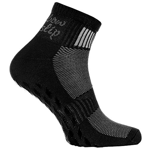 Rainbow Socks - Donna Uomo Sportive Calze Antiscivolo ABS di Cotone - 1 Paia - Negro - Tamaño UE 44-46