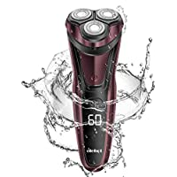 Rasoir Electrique Hommes 3D Rechargeable avec LED Affichage Rasoir à Tête Rotatif sans Fil ELEHOT