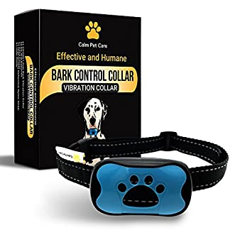 Bark Collar by Calm Pet Care- Microprocessor controlled Anti Bark collar with 7 levels of SOUND and Vibration- NO SHOCK- Safe and Humane way to stop excessive barking. Most reliable dog barking collar 51LoP 2BoGvBL