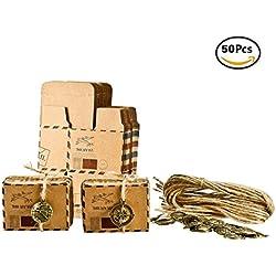 Foonii Set de 50 Cajas para dulces bombones Caja kraft de boda regalo Rústico,novio y de la novia Candy Caja Papel Boda Regalos Cajas de caramelo de Fiesta envoltorio