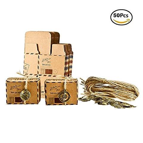 Foonii 50pcs Vintage sachets cadeau dragées de mariage avec décoration en métal, mariage, Chocolat bonbons et boîtes cadeau 6.5cm x 3.5cm x