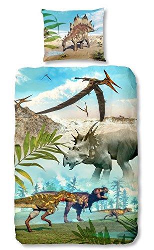 Good Morning! 5036-P, 135cm bettwäsche mit Dinos, 100 Prozent Baumwolle, Mehrfarbig, 200 x 135 x 0,5 cm