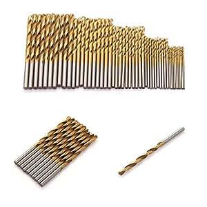 MelysEU Lot de 50 forets hélicoïdaux hélicoïdaux pour perceuse à métaux lourds, argent