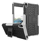 1stfeel Sony Xperia E5 Funda,Heavy Duty Silicona híbrida con Soporte Cáscara de Cubierta Protectora de Doble Capa Funda Caso + Cristal Templado para Sony Xperia E5 Smartphone,Blanco