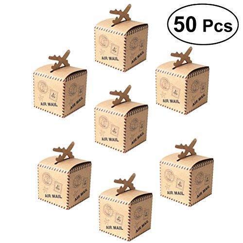 Vosarea 50 x Geschenkboxen für Hochzeiten, Süßigkeiten, Schokolade, Geschenk, Kraftpapier für Brautparty, Geburtstag, Halloween, Thanksgiving, Weihnachten. (Halloween Bulk-süßigkeiten Für)