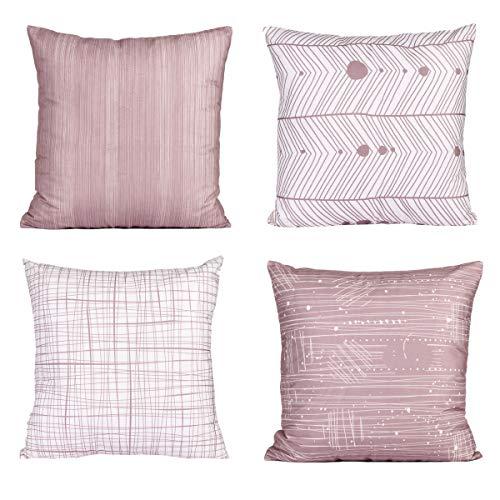 FabThing 4er-Set Kissenbezüge Kissenhülle Dekorative Kopfkissen Geometrie Sitzkissen Sofakissen Baumwolle Dekokissen für Sofa Schlafzimmer,45x45cm Rosa (Dekorative Kissen Pink)
