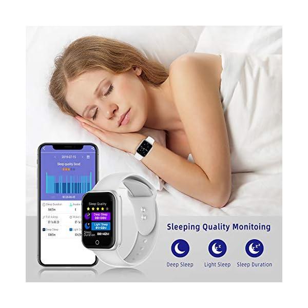 Reloj Inteligente, 1.4 Inch Smartwatch with Monitoreo de presión Arterial, Pulsómetro Impermeable IP68 Pulsera Actividad con Inteligente de Podómetro y Monitoreo del Sueño para Android y iOS 7