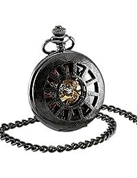 ESS Antiguo Reloj Bolsillo Mecánico para Hombre Negro Línea Oro Romana Cadena Manos Blancas