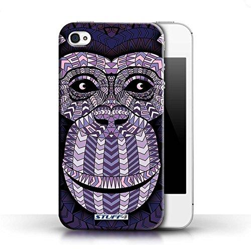 Hülle für Apple iPhone 4/4S / Wolf-Grün / Aztec Tier Muster Kollektion Affe-Lila