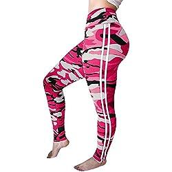 Mieuid Mujer Pantalones Deportivos De Cintura Estampado con Alta Chic Friends De Camuflaje Pantalones Deportivos De Cintura Alta Súper Ejercicio Correr Yoga Entrenamiento Sudor Pantalones