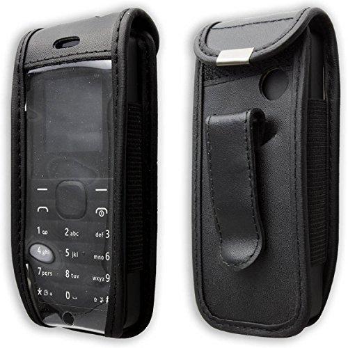 caseroxx Handy-Tasche Ledertasche mit Gürtelclip für Nokia 105 aus Echtleder, Handyhülle für Gürtel (mit Sichtfenster aus schmutzabweisender Klarsichtfolie in schwarz)
