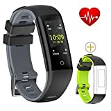 Bloranda Montre Connectée, Bracelet Connecté Écran Couleur Fitness Tracker d'Activité Cardiofréquencemètre Etanche IP67 Smartwatch Cardio Podomètre Sport Smart Watch Band Bluetooth pour Femme Homme Etanche IP67 Cardio Bluetooth pour iPhone Android Smartphone