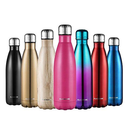 Botella De Agua-CMXING 500ML/750ML de doble pared con aislamiento de botella de agua de acero inoxidable para Mantener sus Bebidas Caliente y Fría, Deportiva Botella Acero Inoxidable Térmica