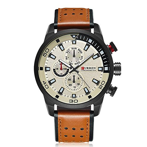 CURREN 8250 Men's Sports Quartz Watch Waterproof Casual Business Fashionable Simple Military Watch Clock with Genuine Leather Band