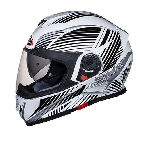 SMK GL126 Twister Fluid Graphics Pinlock Fitted Full Face Helmet With Clear Visor (Gloss White, Black and Grey, XL)