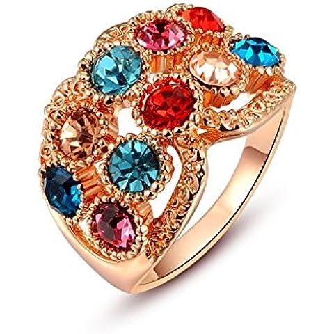 Donna Luxury Pied cristalli pavimentazione Platinum/18Maschera Forma placcato oro rosa Anelli