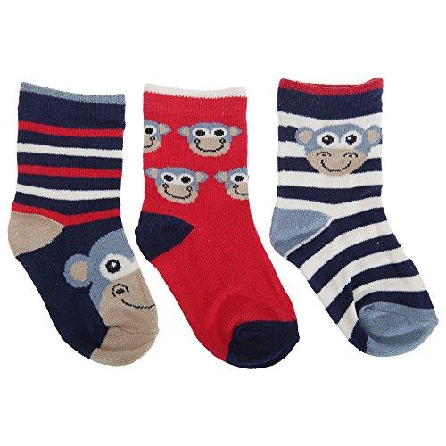 Baby Jungen Socken mit Affen Motiv (3er Packung) (15 EU) (Marineblau/Weiß/Rot)
