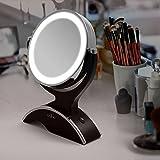 Anjou Kosmetikspiegel Make up Spiegel LED schminkspiegel Beleuchtet mit 7-facher Vergrößerung und Doppelseitiger Vergrößerungsspiegel, 360° Drehbar für Kosmetik und Hautpflege,14LEDs - 4