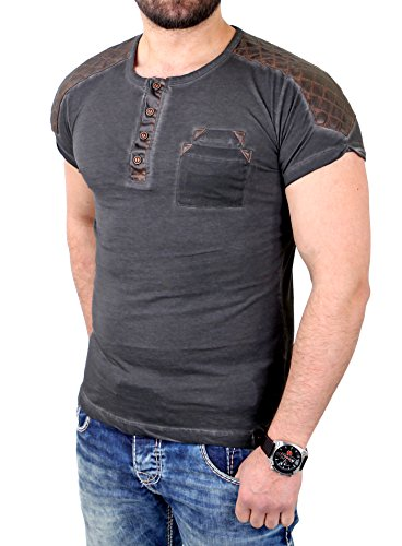 Tazzio T-Shirt Herren Kunst- Lederimitat Patched Buttoned Shirt TZ-15136 Anthrazit
