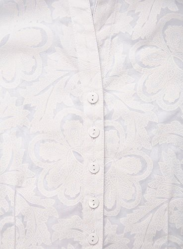 oodji Collection Damen Druckbluse Aus Leichtem Stoff Weiß (1000N)