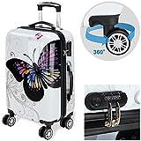 Monzana® Reisekoffer Hartschalenkoffer Trolley Koffer ✔ABS-Kunststoff ✔PC beschichtet ✔Alu Teleskopgriff ✔gummierte Zwillingsrollen ✔Größe M