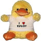 Pato de peluche (juguete) con Amo Rugby en la camiseta (nombre de pila/apellido/apodo)