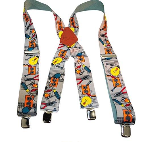 Hold-Up Suspender Co. Halterlose Strümpfe mit Elektriker-Muster, 5 cm breit, rutschfeste Clips - Patent Leder Slip