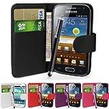 Fi9 Étui portefeuille en simili-cuir avec film de protection d'écran et stylet pour téléphone portable Samsung Galaxy Ace GT-S5830 S5830i S5839i - noir