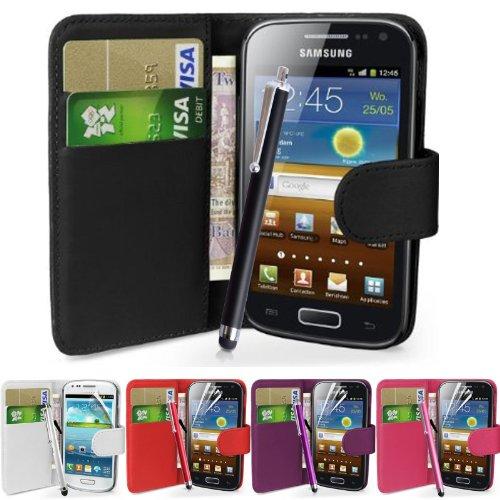 fi9 - Cover in similpelle per telefoni Samsung con protezione per schermo e stilo, - nero, Galaxy Ace 4