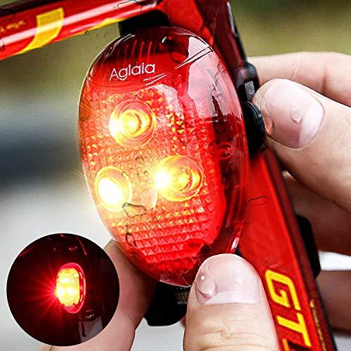 Aglaia -  Faro trasero led para bicicleta,  impermeable,  40lúmenes,  modo automático,  para practicar ciclismo y deporte de noche,  con 2pilas AAA incluidas. (LT- BL3)