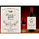 Personalised 18th 21st 30 40 50 60th BIRTHDAY WINE CHAMPAGNE BOTTLE LABEL ~ Gift Idea N64