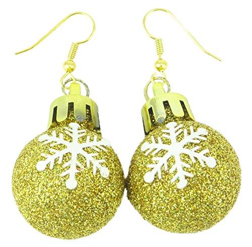 1 x Packung Gold Glitzer Schneeflocke Design Ohrringe - Weihnachtszubehör - Weihnachtsfeiern