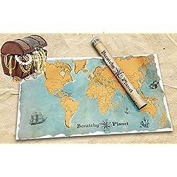Mapamundi para rascar con un estilo vintage, nombres de los países y ciudades