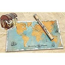 Scratchy Planet - mapamundi para rascar con un estilo vintage , atlas de rascar, Mapa del mundo para rascar, mapa del mundo para rascar XL, nombres de los países y ciudades auténticas