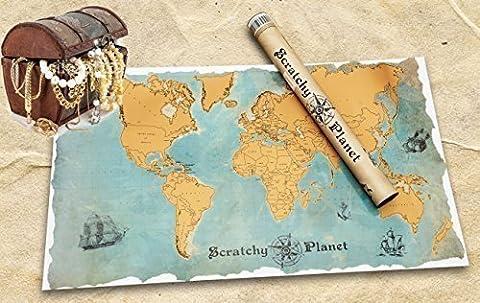 Scratchy Planet® - Rubbel Weltkarte, Rubbel Atlas, Weltkarte zum Rubbeln, Internationale Scratch Landkarte XL, Vintage Version im Piratenlook