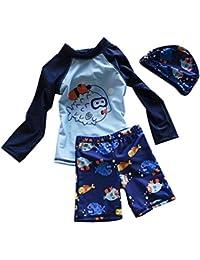 Bebé Niño Trajes De Baño 3 PiezasBeachwear Bañadores Con Sombrero Azul M